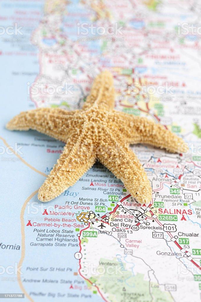 California Road Map with Starfish stock photo