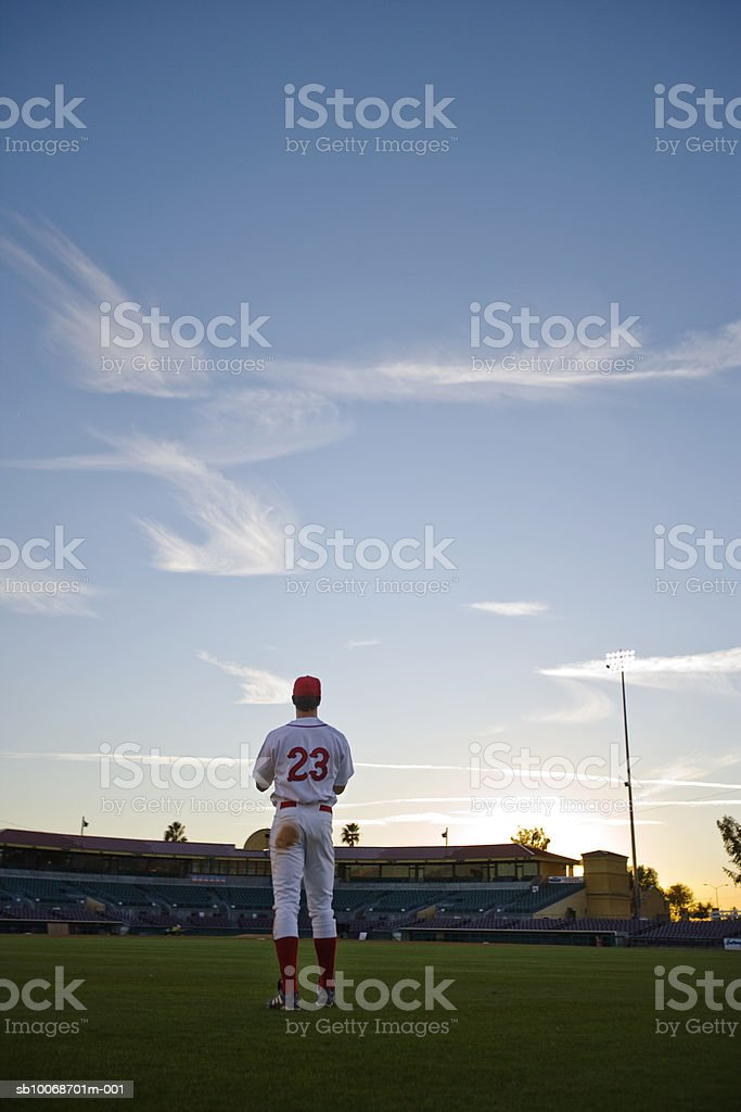USA, California, San Bernardino, baseball outfielder looking towards diamond royalty-free stock photo
