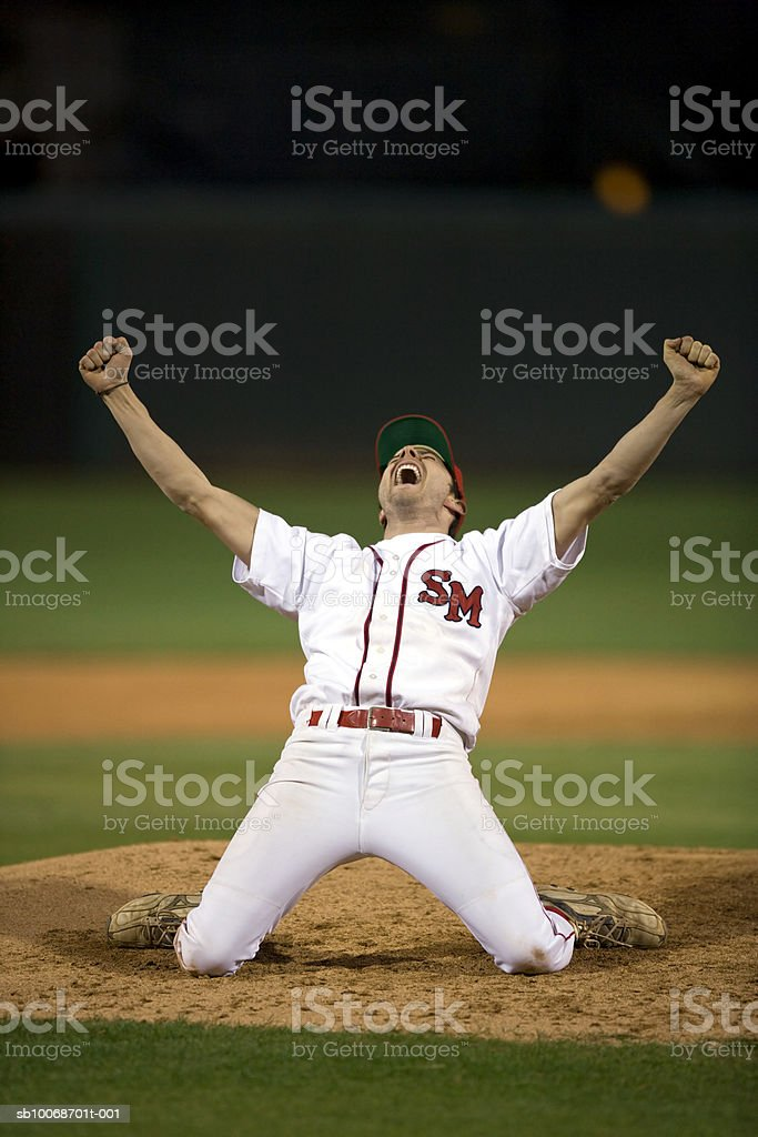 USA, California, San Bernardino, baseball player celebrating victory 免版稅 stock photo
