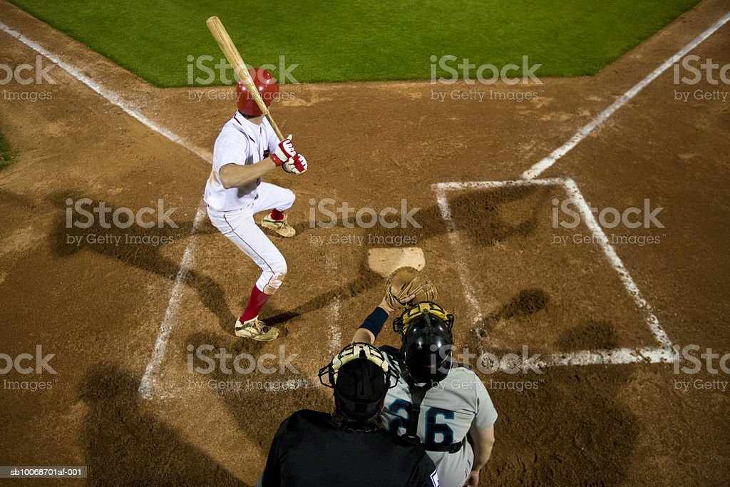 USA, California, San Bernardino, baseball players awaiting pitch during game royalty free stockfoto