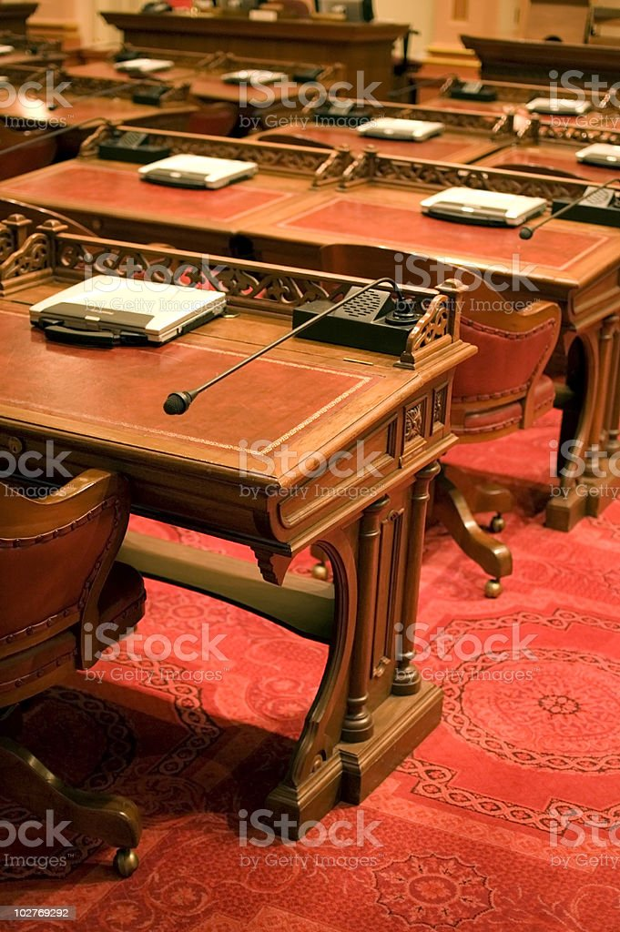 California Senate Chamber Desks stock photo