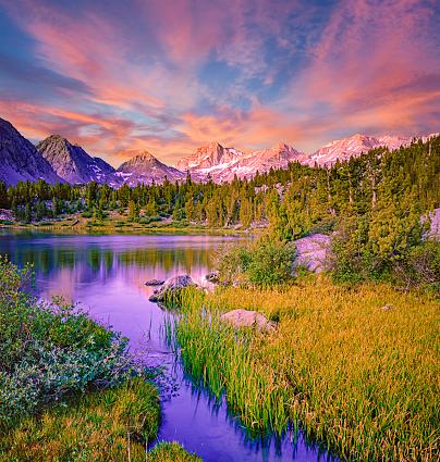 Rock Creek forms Little Lakes basin in the Sierra Nevada Range near Bishop, California