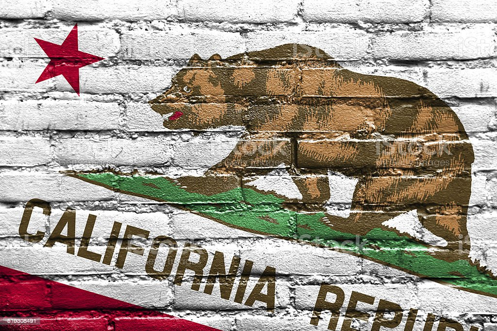 California State Flag painted on brick wall stock photo