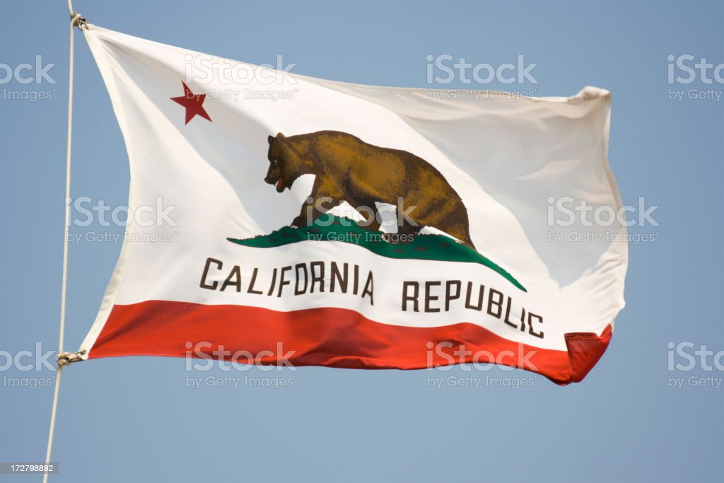 California State Flag, Waving State Banner with Bear and Star stock photo