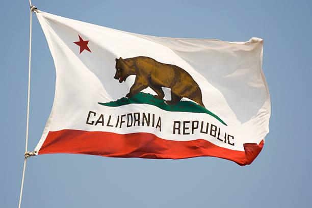 Bandera del estado de California, agitando Estado del Banner con oso y Star - foto de stock