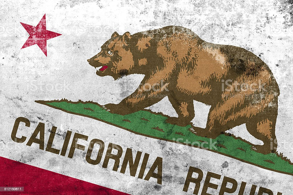 California State Flag with a vintage and old look stock photo
