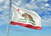California state of United States flag on flagpole waving cloudy sky background realistic 3d illustration