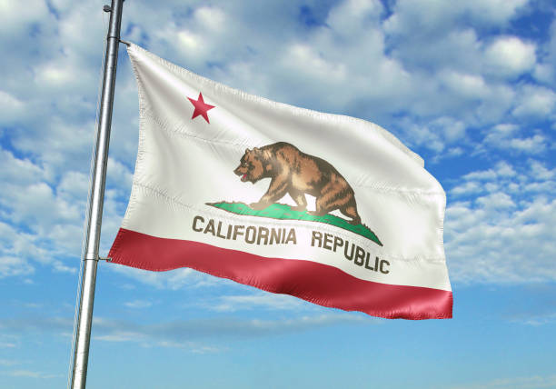 California state of United States flag waving cloudy sky background California state of United States flag on flagpole waving cloudy sky background realistic 3d illustration california stock pictures, royalty-free photos & images