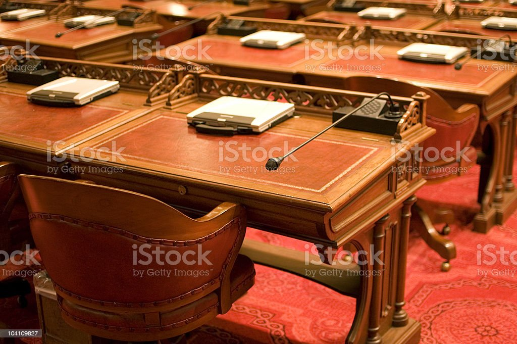 California State Senate Chamber Desks stock photo