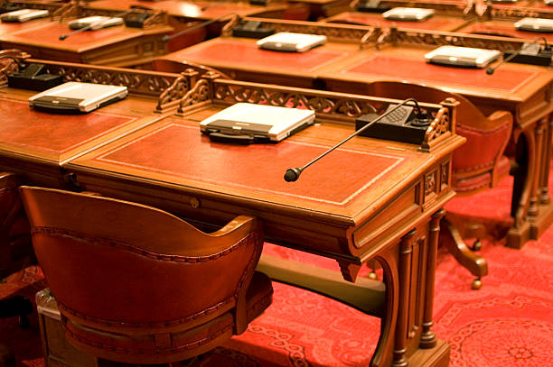 California State Senate Chamber Desks stock photo