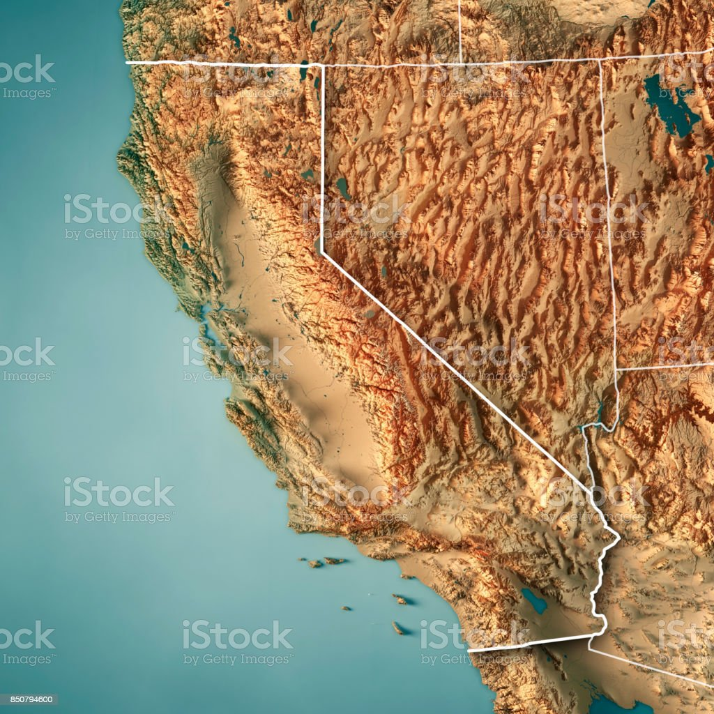 California State USA 3D Render Topographic Map Border stock photo