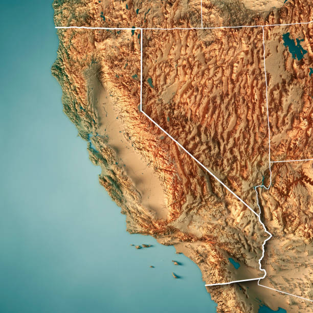 california state usa 3d render topographic map border - topography stock photos and pictures