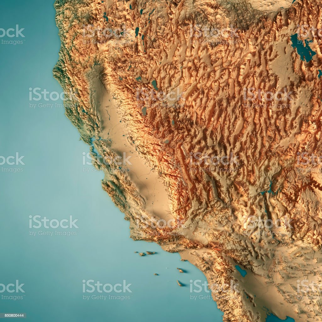 California State Usa 3d Render Topographic Map Stock Photo & More ...