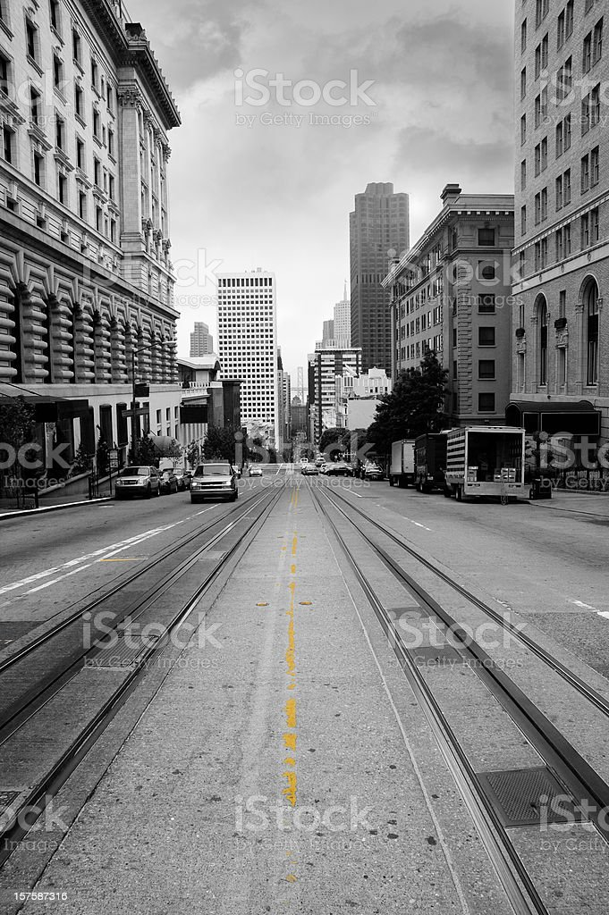 California street in black and white royalty-free stock photo