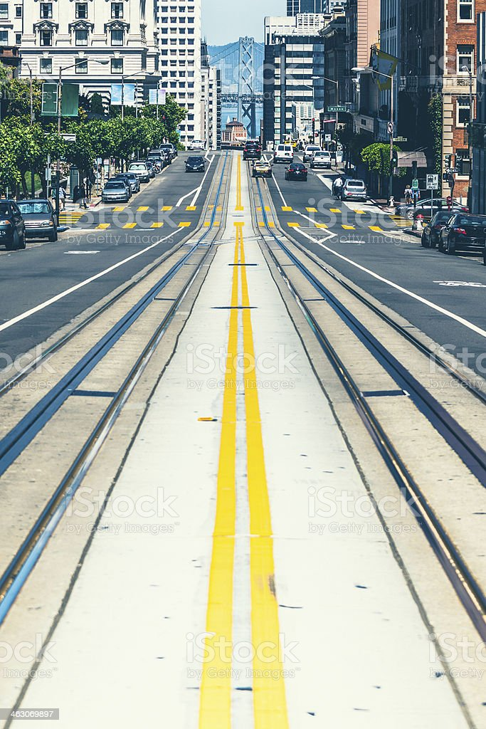 California Street in San Francisco with bay Bridge stock photo