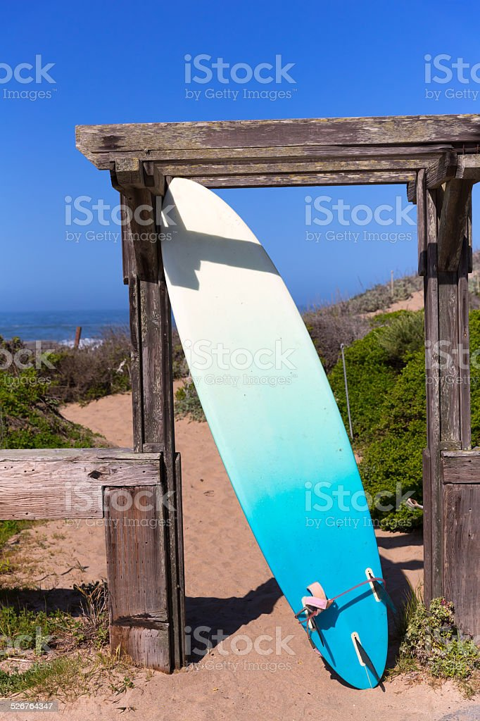 California surfboard on beach in Cabrillo Highway Route 1 stock photo