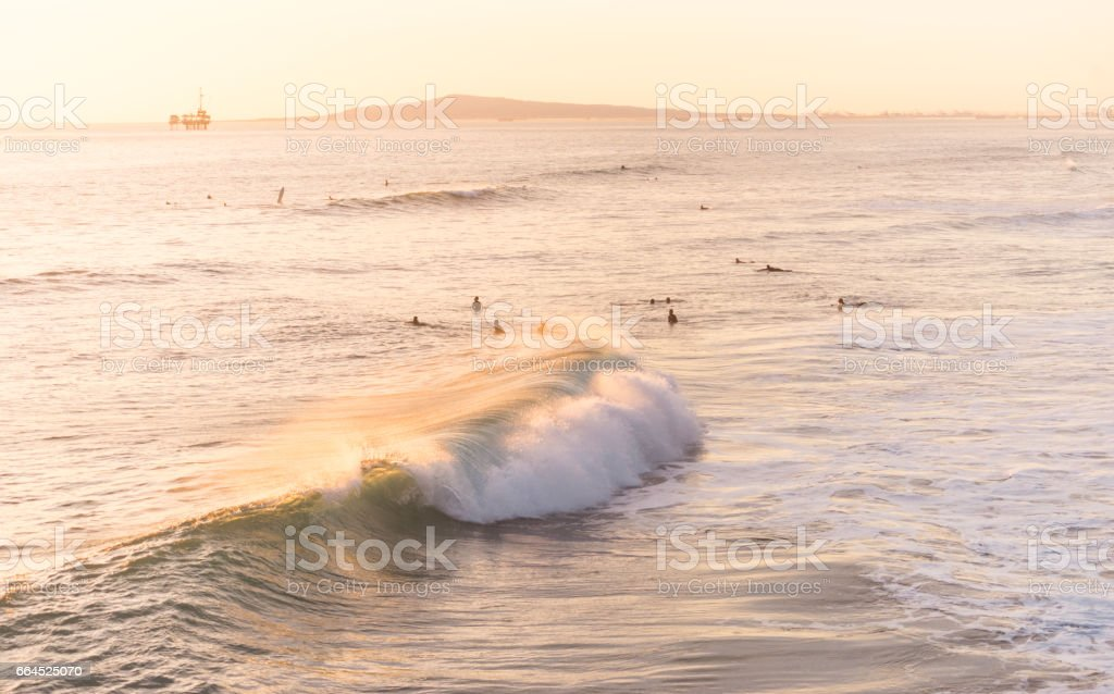 California Surfing Off Huntington Beach royalty-free stock photo
