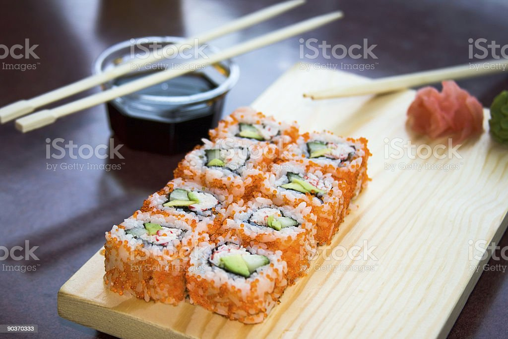 california sushi rolls with sauce royalty-free stock photo