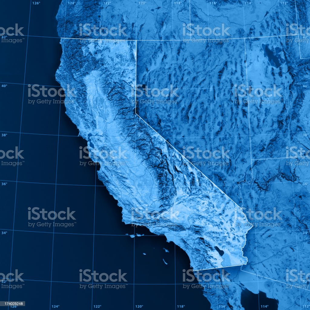 California Topographic Map on