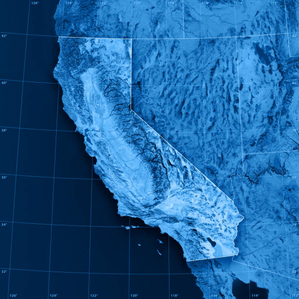 California Topographic Map 3D rendering and image composing: Topographic Map of California. Including state borders, rivers and accurate longitude/latitude lines. High resolution available! High quality relief structure! environment stock pictures, royalty-free photos & images