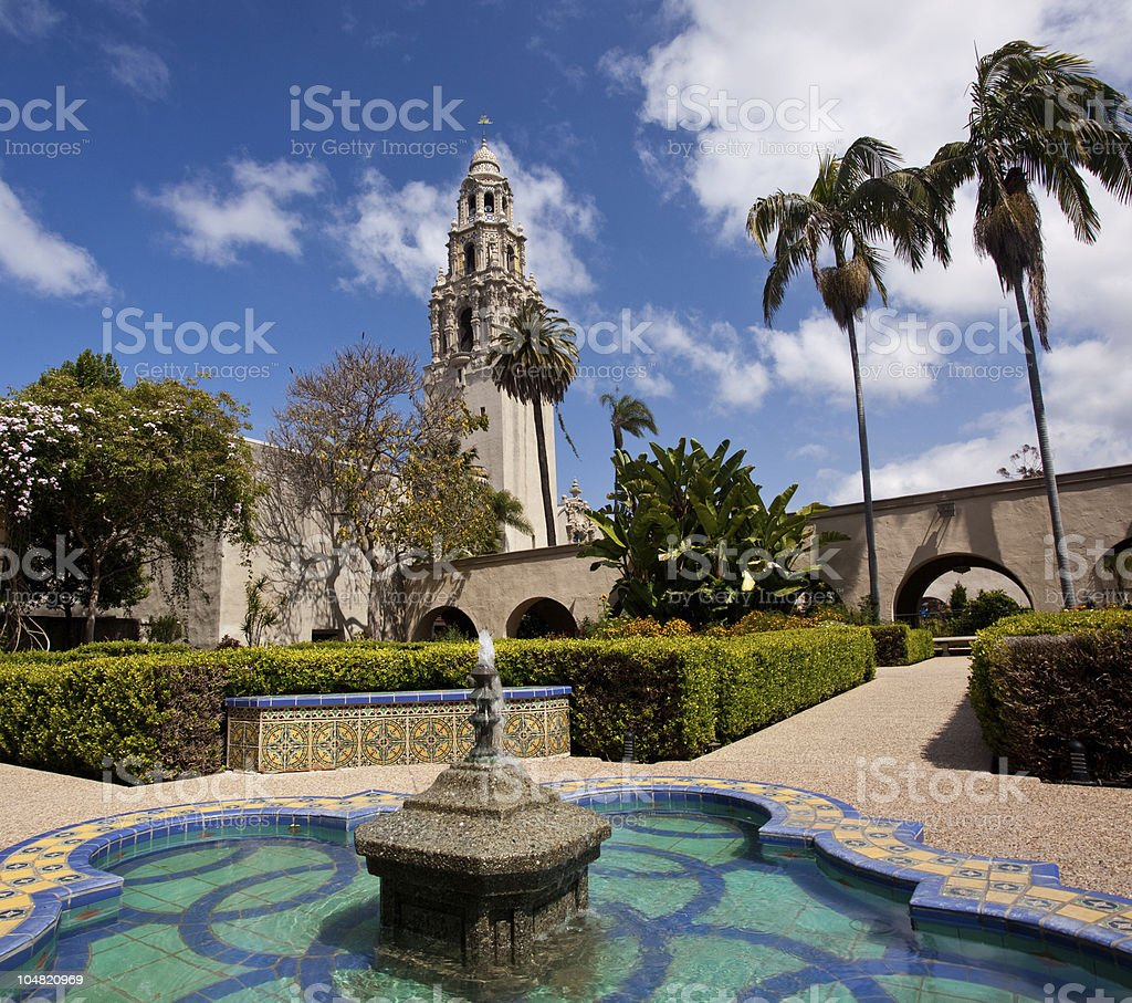 California Tower from Alcazar Gardens in Balboa Park royalty-free stock photo