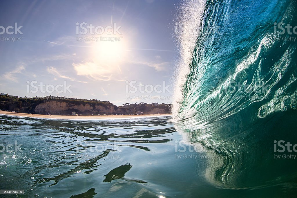 California Wave Zuma Beach Barrels stock photo