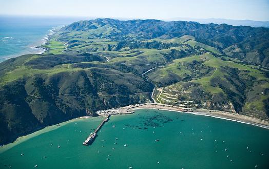 California West Coast Coastline Aerial View of Port San Luis - Travel Central Coast