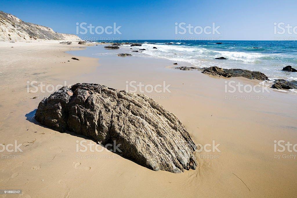Californian Beach with Rock stock photo