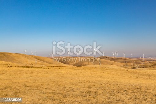 Wind turbines on the hills at Altamont Pass, in California