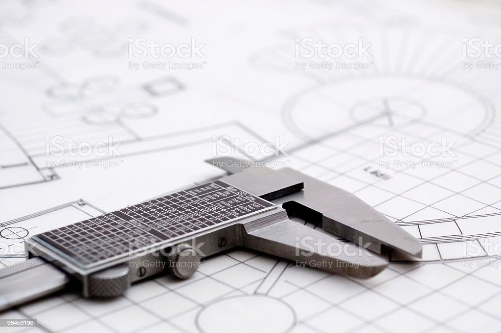 Caliper & Blueprint royalty-free stock photo