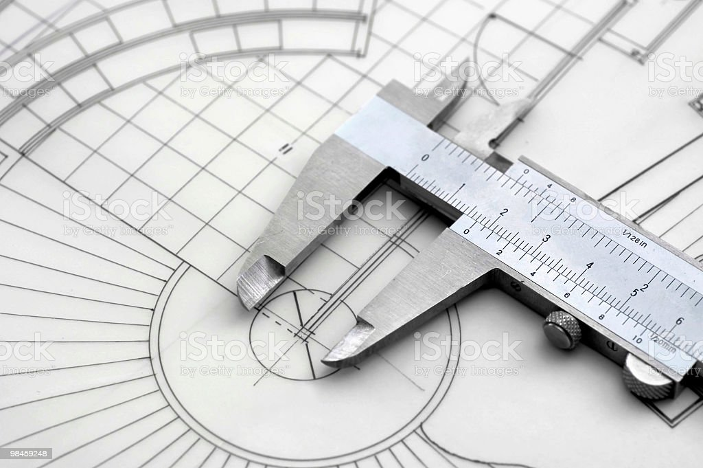 Caliper & Construction Plan royalty-free stock photo