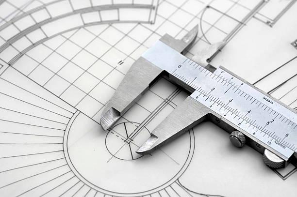 Caliper & Construction Plan stock photo