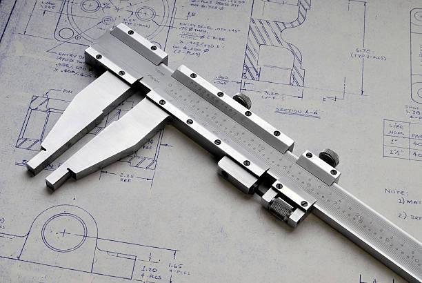 calipers und technische zeichnung - produktdesigner stock-fotos und bilder