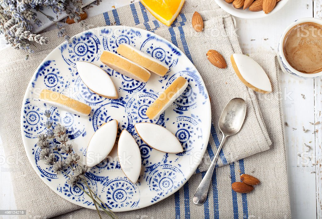 Calissons d'Aix-en-Provence. Traditional French Provence sweets. stock photo