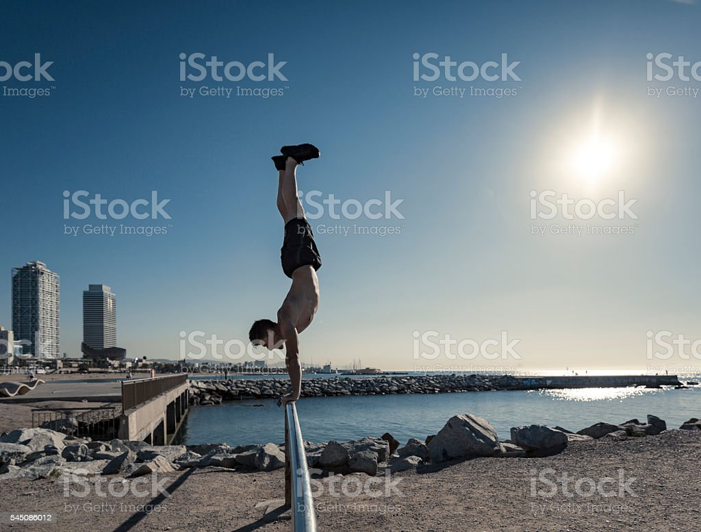 Calisthenics workout in Barcelona Spain stock photo