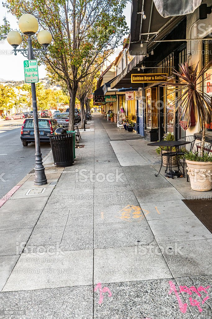 Calistoga sidewalk, Napa Valley, California, USA stock photo
