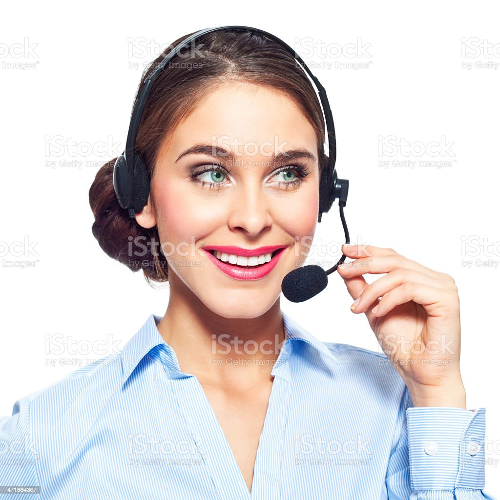 Call center operator Portrait of attractive call center operator with headset. Studio shot on a white background. 20-24 Years Stock Photo