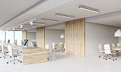 Call center with wooden walls