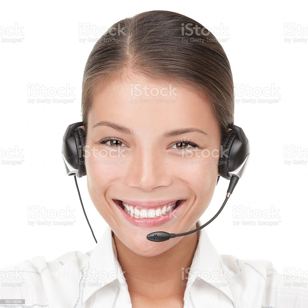 Call Center Woman with headset royalty-free stock photo