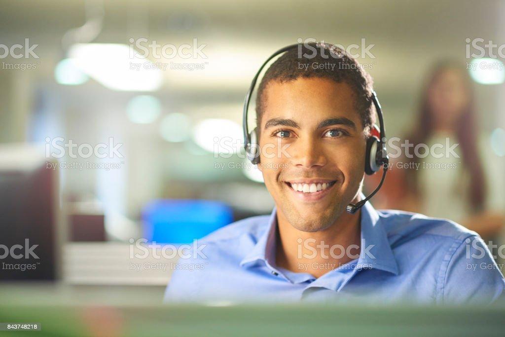 call center worker portrait stock photo