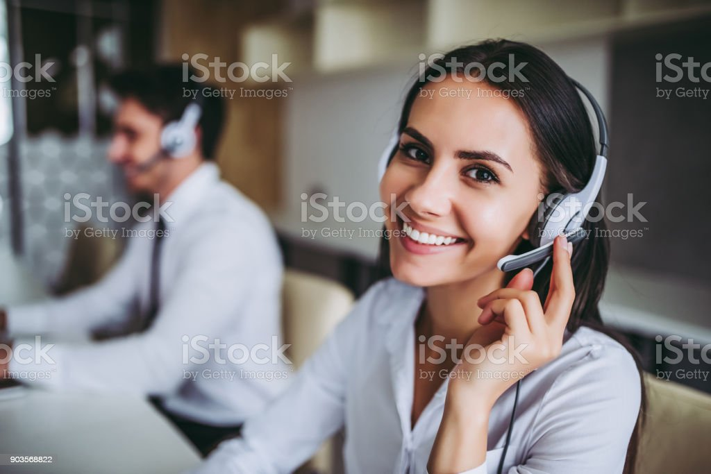 Call center workers. - foto stock