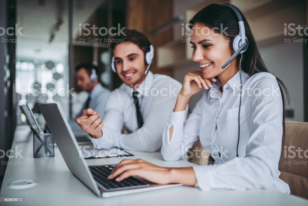 Call center workers. stock photo