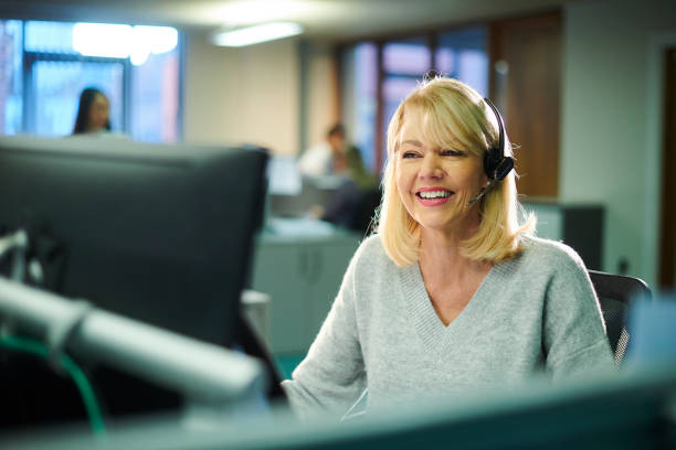 call centre worker stock photo