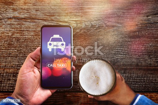 Call Taxi Application Concept. Drunker Man using Smartphone to Calling Cab in Pub or Restaurant