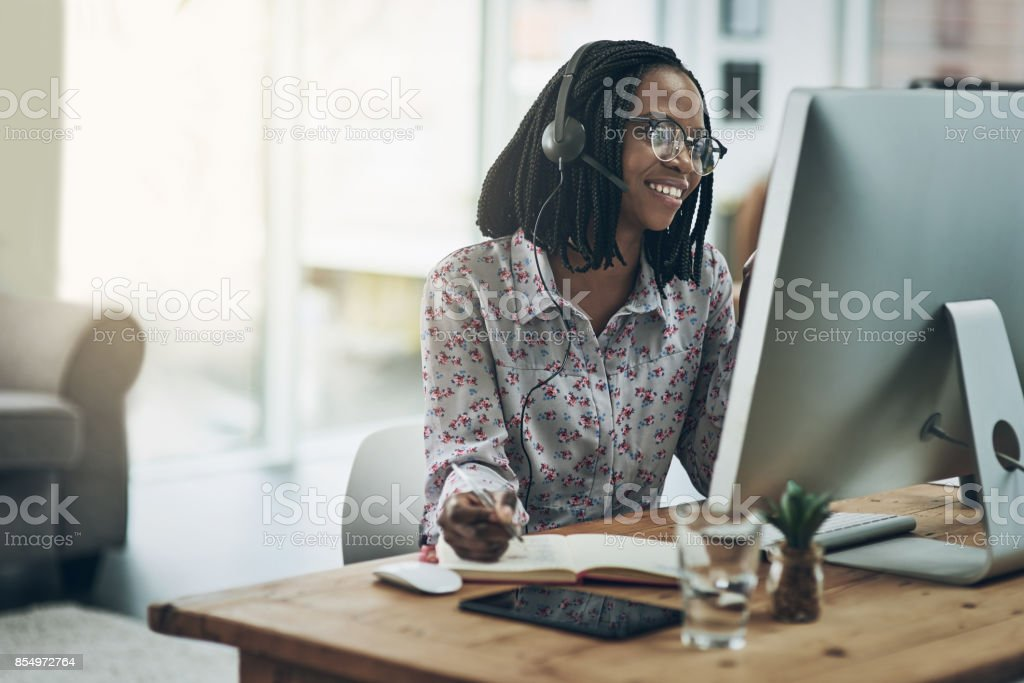 Call the expert. She knows what she's talking about stock photo