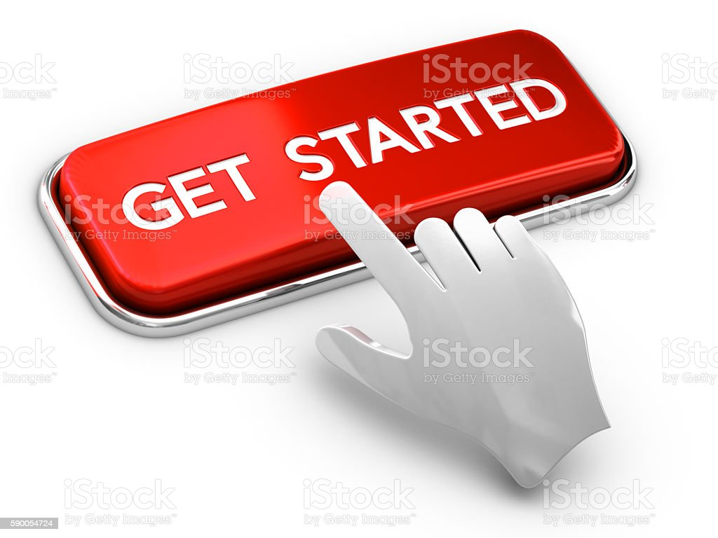 Call to Action Button, Get Started stock photo