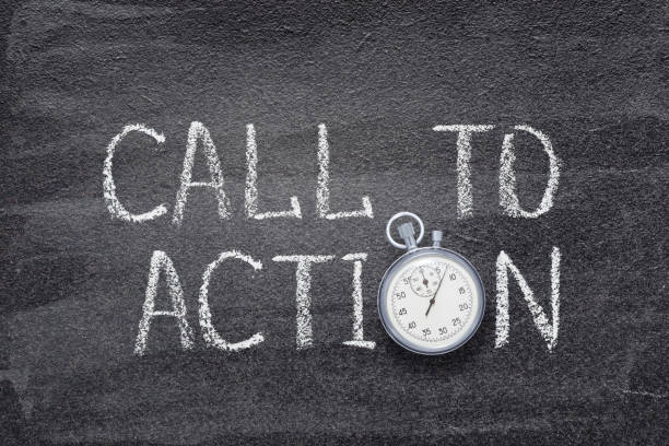 call to action watch call to action written on chalkboard with vintage stopwatch used instead of O animal call stock pictures, royalty-free photos & images