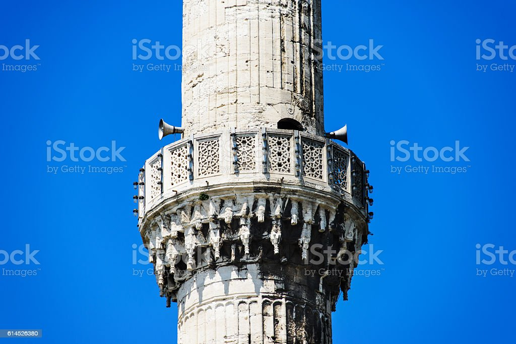 Call to prayer minaret with public announce system, Blue Mosque stock photo