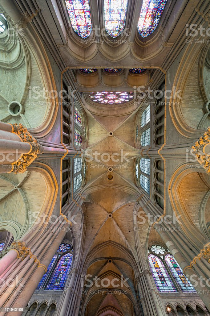 Call upwards: Reims Notre-Dame Cathedral vault, France stock photo