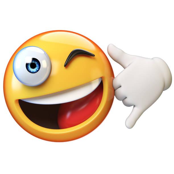 rufen sie sie sichern, emoji isoliert auf weißem hintergrund - emojis stock-fotos und bilder